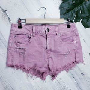 American Eagle Mauve Raw Distressed Stretch Shorts